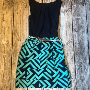 I.N. San Francisco Dress in Navy and Teal